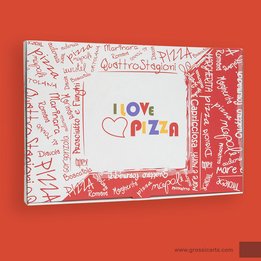 Scatole pizza stampa ''i love pizza'' maxi
