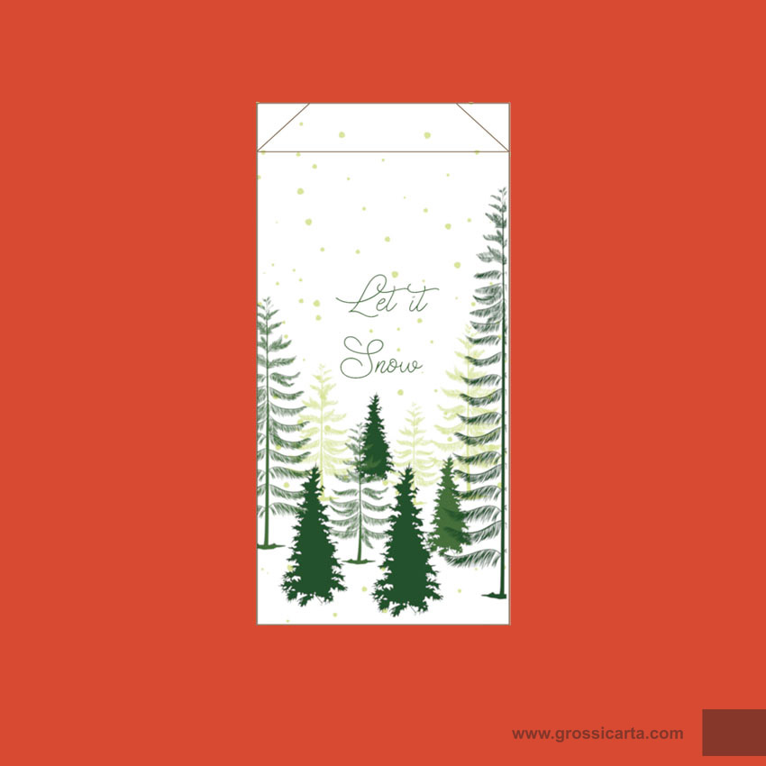 Sacchetto frutta e verdura ''Let it Snow'', f.to 15x30 cm, Certificato FSC<sup>®</sup>