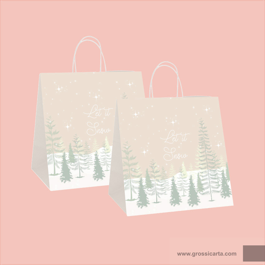 Shopper in carta avana ''Let it Snow'', gr. 120 - f.to 32+20x32 cm, Certificata FSC<sup>®</sup> - <strong>SOLD OUT</strong>